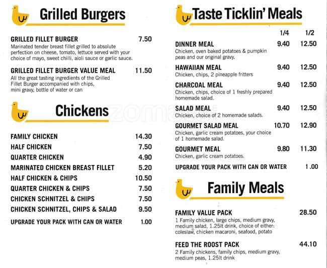 The Chicken Kitchen On Charcoal, Mentone Menu