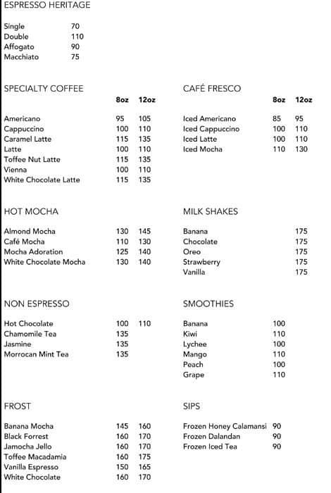 Cafe Mozu Menu Prices