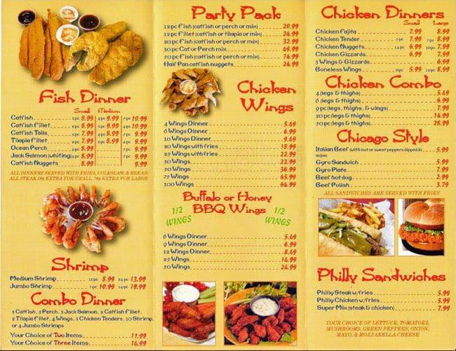 Hook fish chicken menu menu restauracji hook fish for Hooks fish and chicken menu