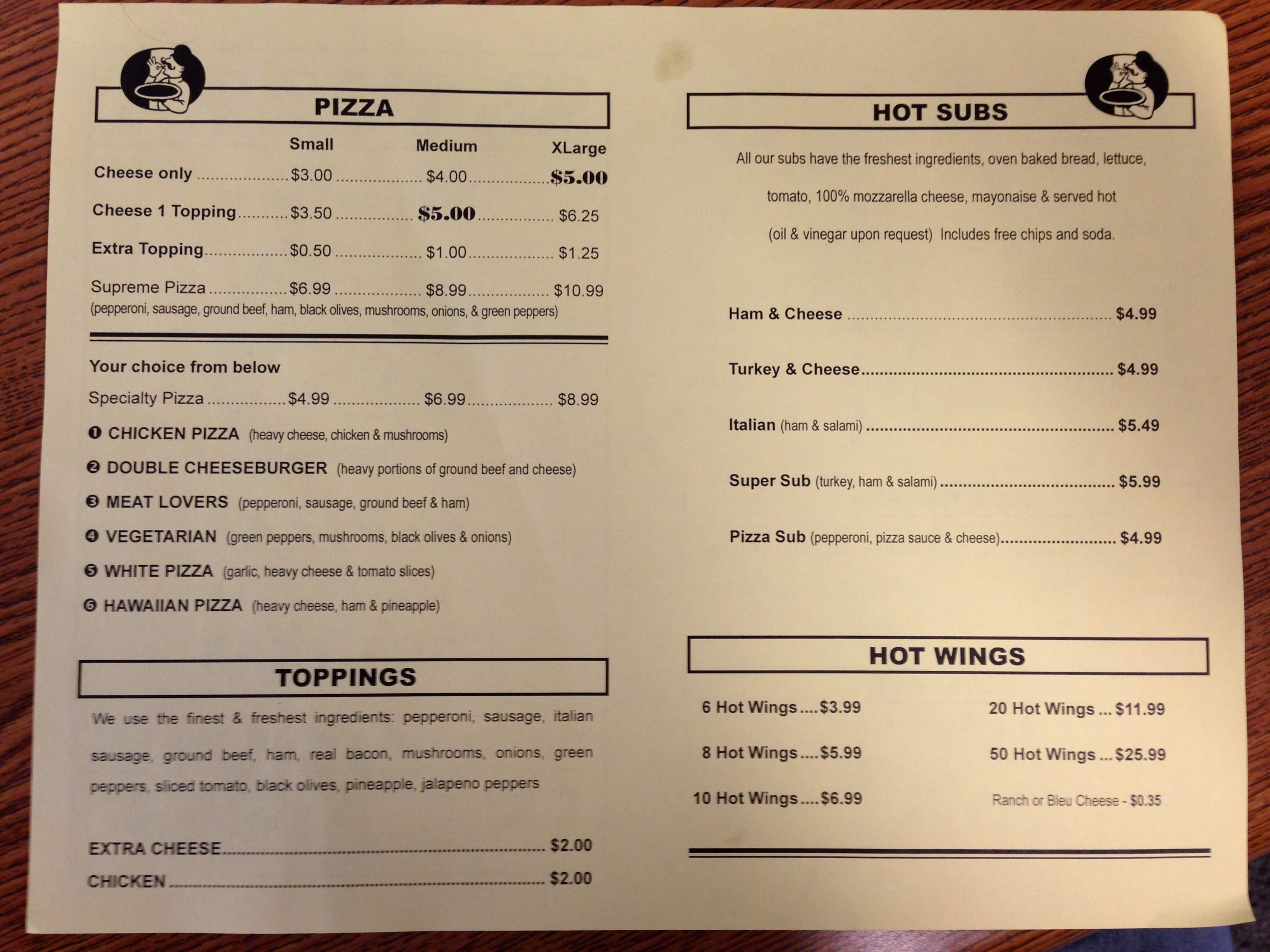 5 Dollar Pizza Menu