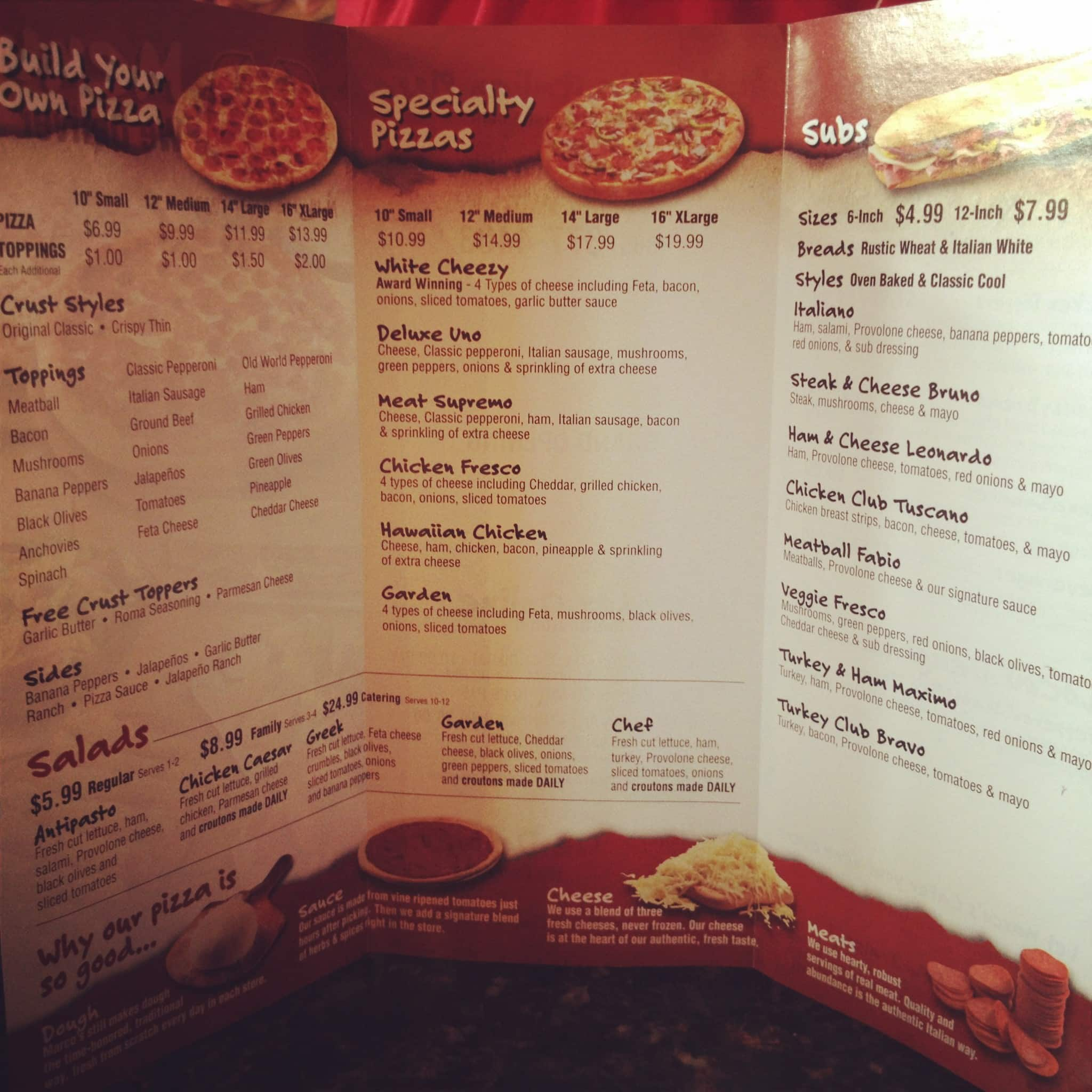 Marco\'s Pizza Menu, Menu for Marco\'s Pizza, Halls Crossroads ...