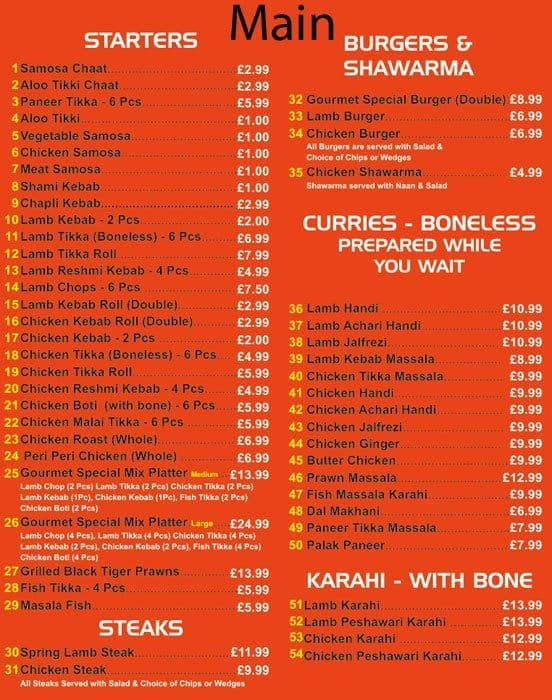 Gourmet Restaurant Menu Pakistan