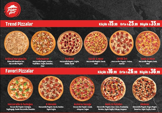 Pizza Hut Menu Menu For Pizza Hut Tandoğan çankaya