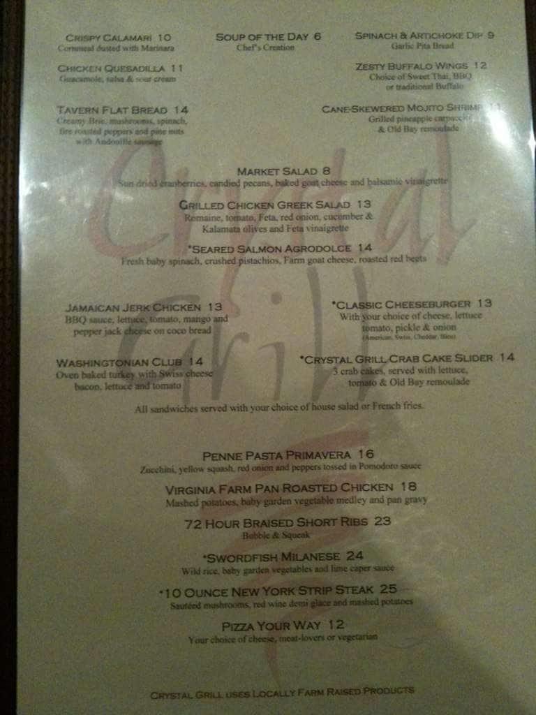 Crystal Grill Menu, Menu for Crystal Grill, Arlington, Arlington ...
