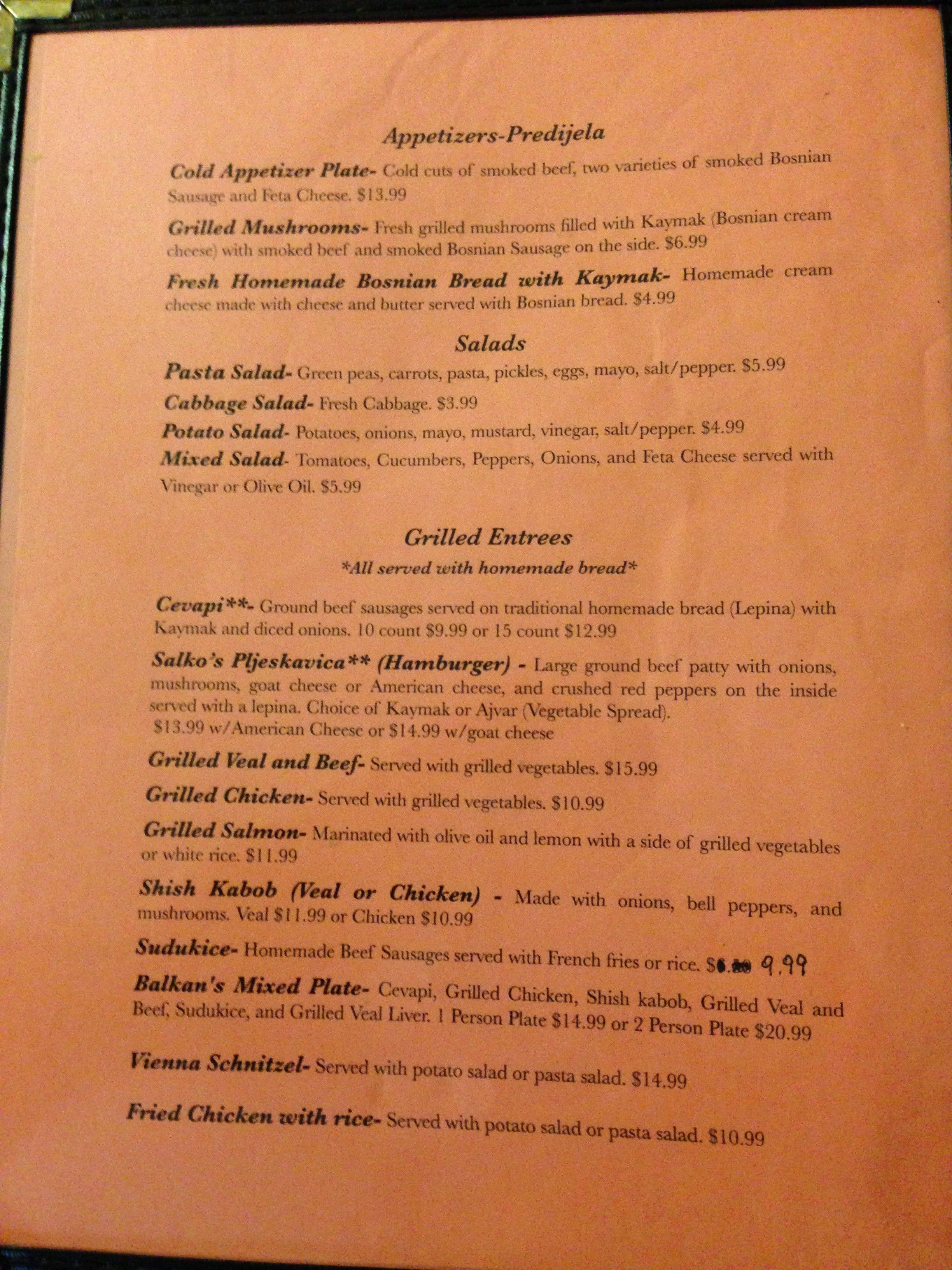 Balkan Restaurant Newport News Menu