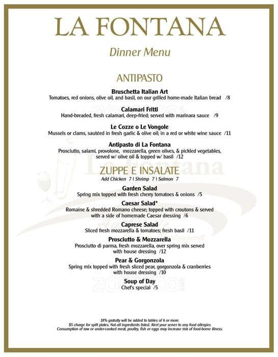 La Fontana Authentic Italian Restaurant Menu  UrbanspoonZomato