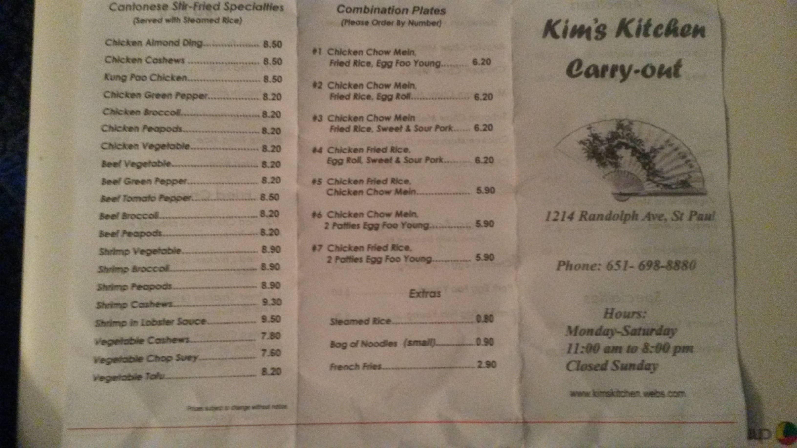 Kim kitchen menu