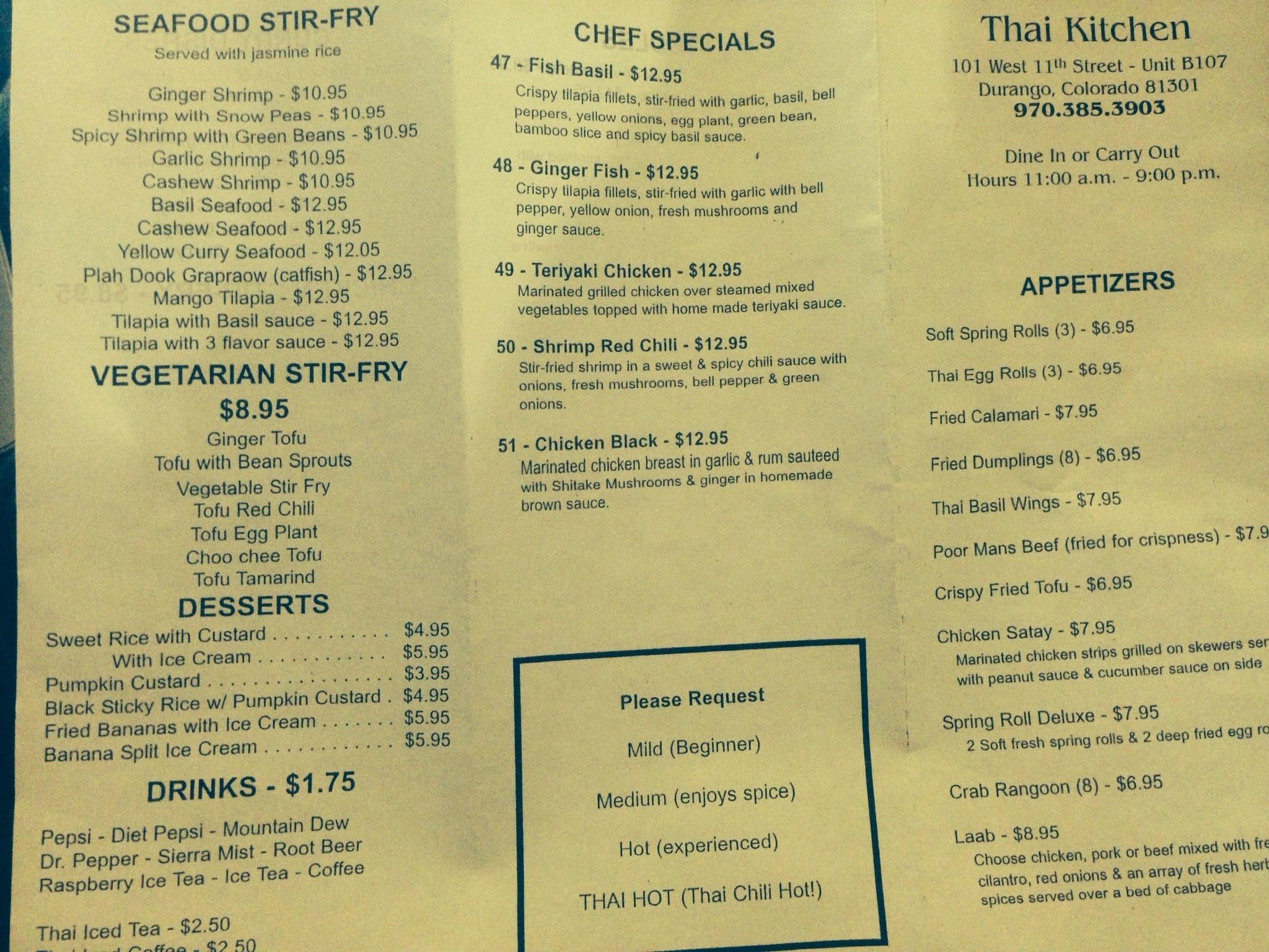 Thai Kitchen Menu Menu for Thai Kitchen Durango Durango