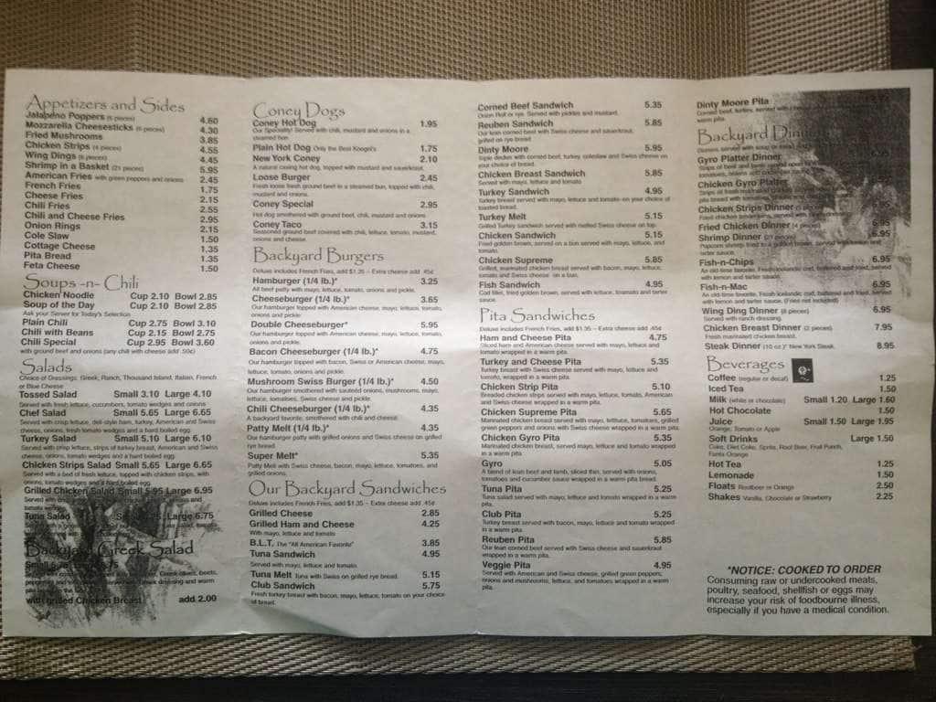 Backyard Coney Island Menu backyard coney island menu, menu for backyard coney island, novi