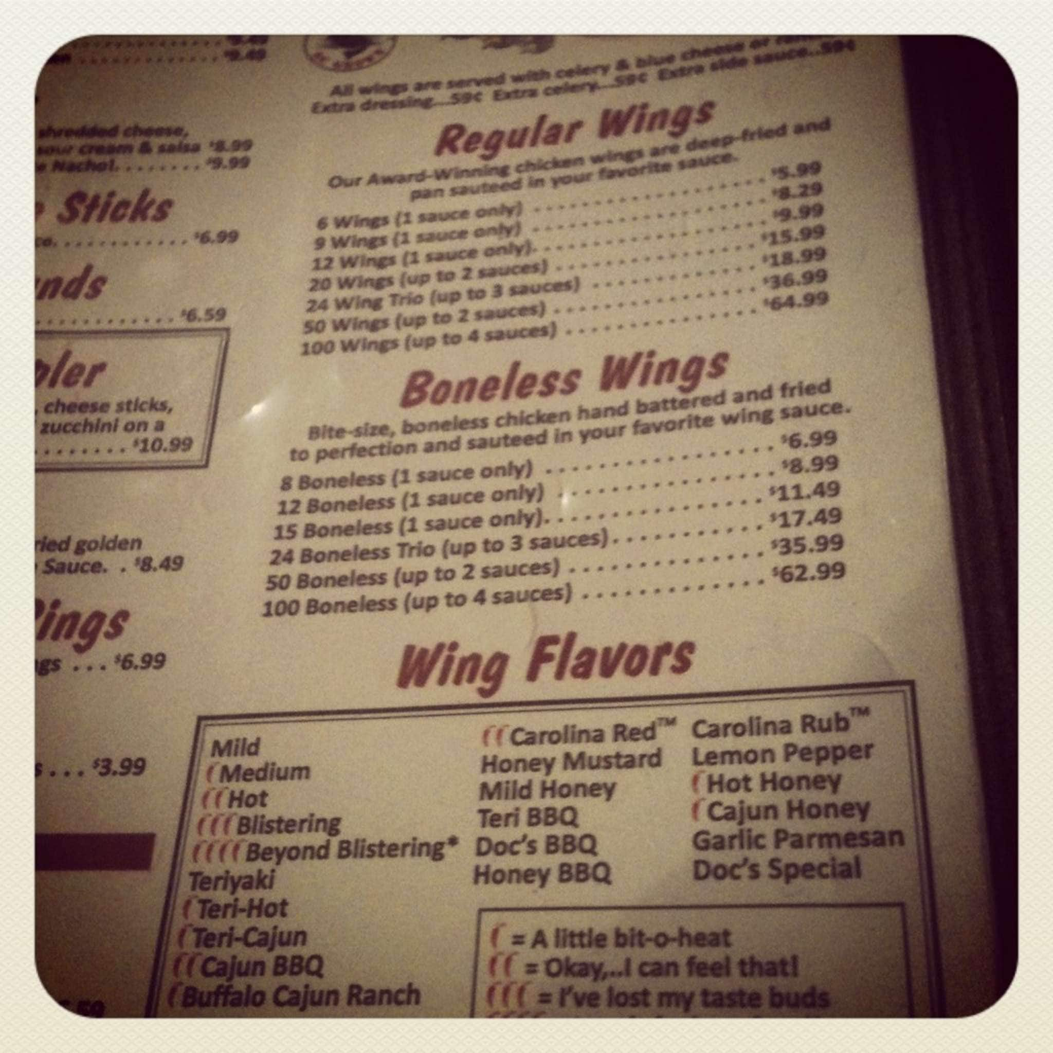 Carolina Wings Menu Menu For Carolina Wings Lexington Columbia