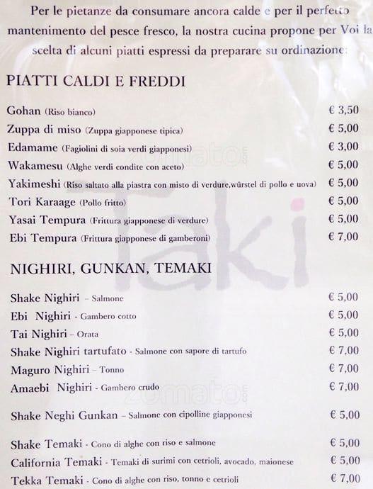 Taki Menu Menu For Taki Prati Roma Zomato Italy