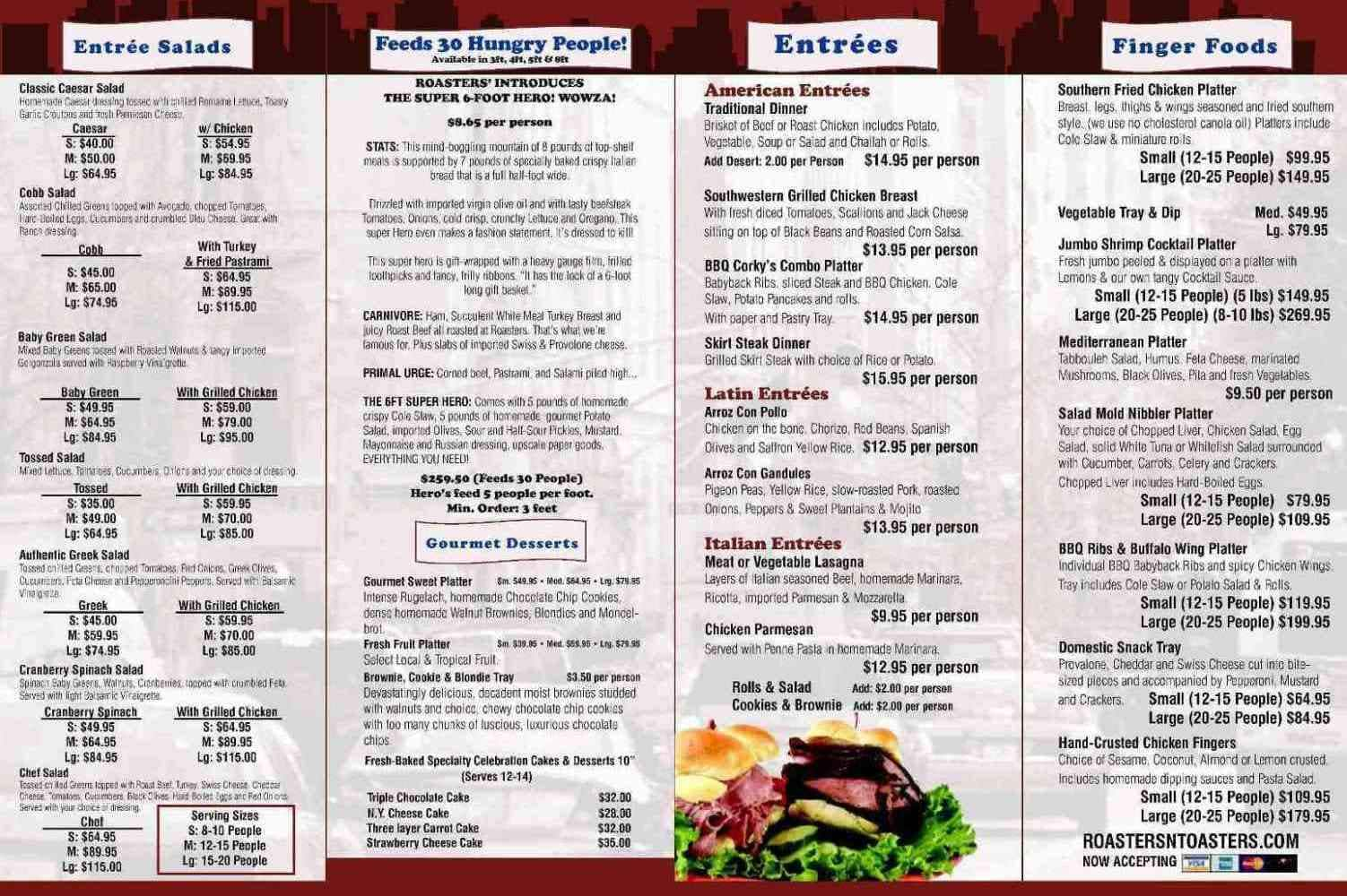 Menu at Roasters \'N Toasters restaurant, Miami, S Dixie Hwy