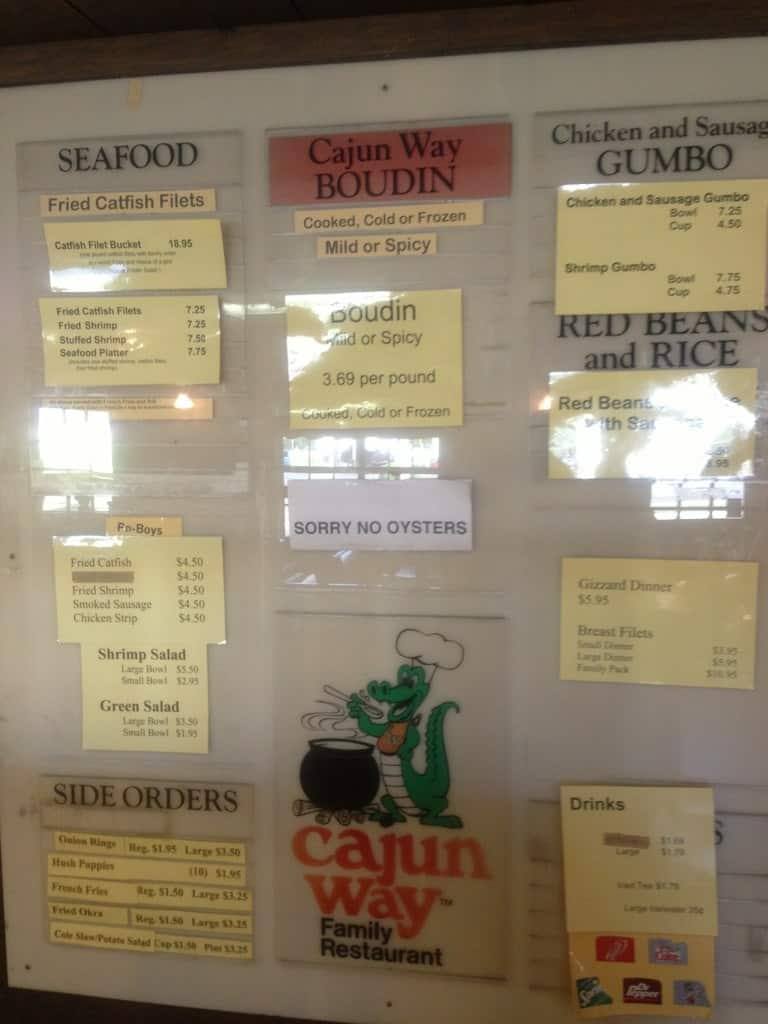 Cajun Way Restaurant Crowley Menu