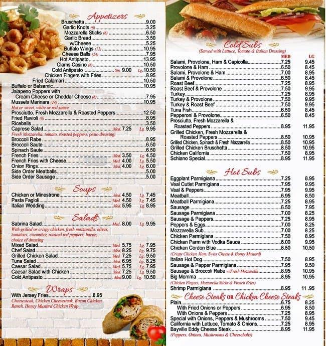 Schiano S Pizza Menu Menu For Schiano S Pizza Bayville Bayville