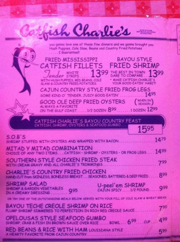Catfish Charlies Menu Menu For Catfish Charlies Corpus Christi