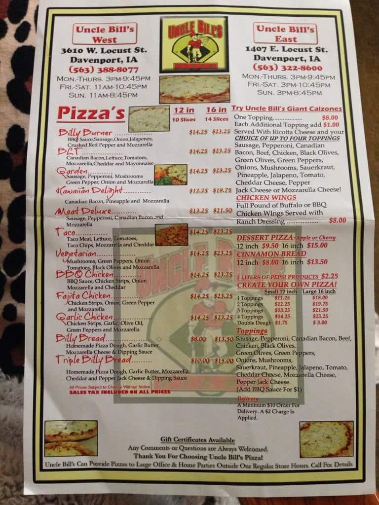 Uncle Bills Pizza Menu Menu For Uncle Bills Pizza Davenport