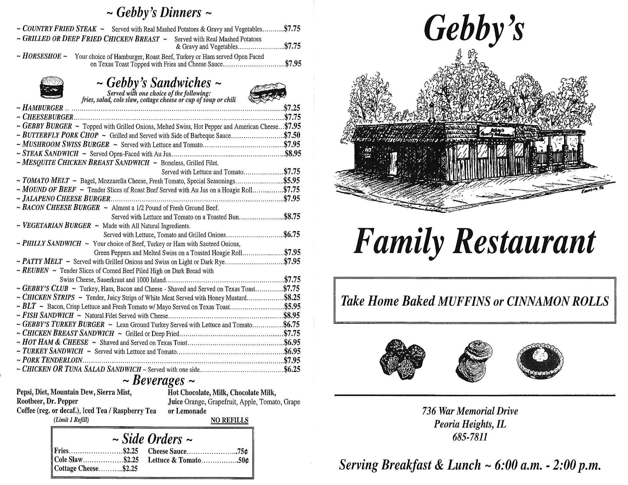 Gebbys Family Restaurant Menu Urbanspoonzomato