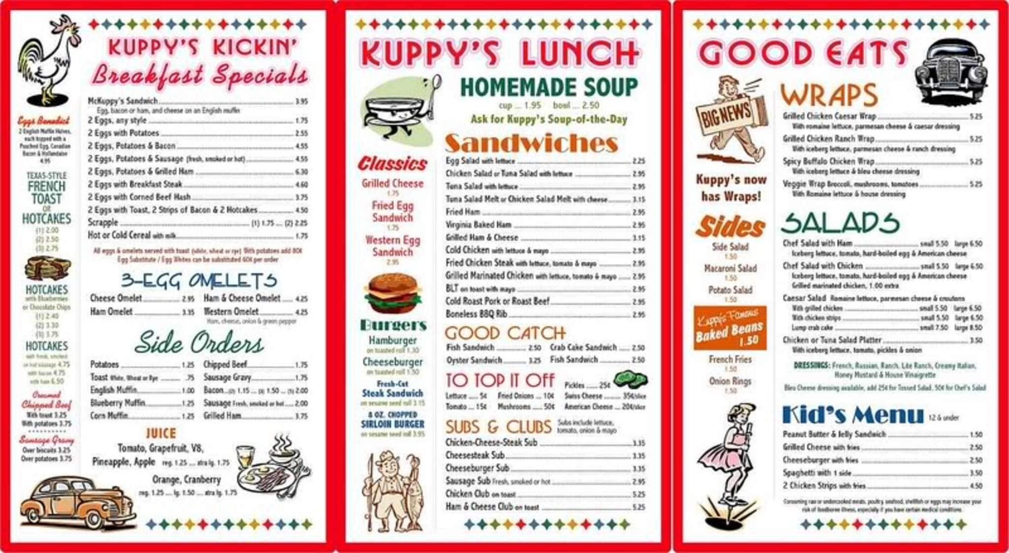 menu at kuppys diner restaurant middletown