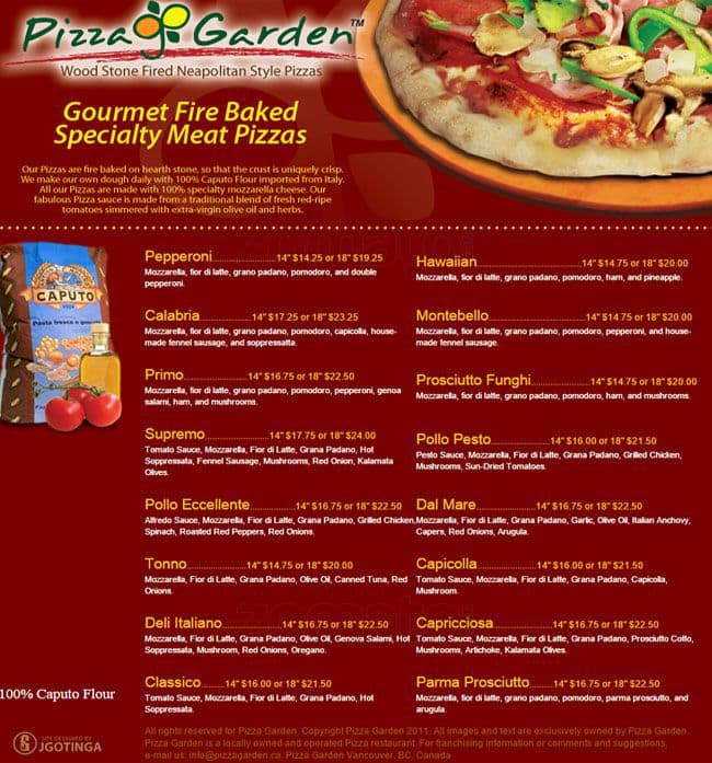 pizza garden menu - Pizza Garden