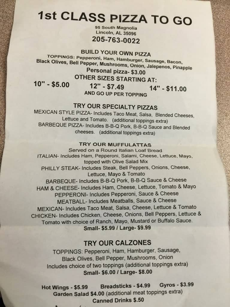 First Class Pizza To Go Menu Menu For First Class Pizza To
