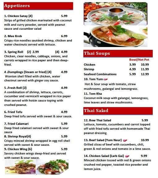 Bow Thai Cuisine Menu Menu For Bow Thai Cuisine Hartsville