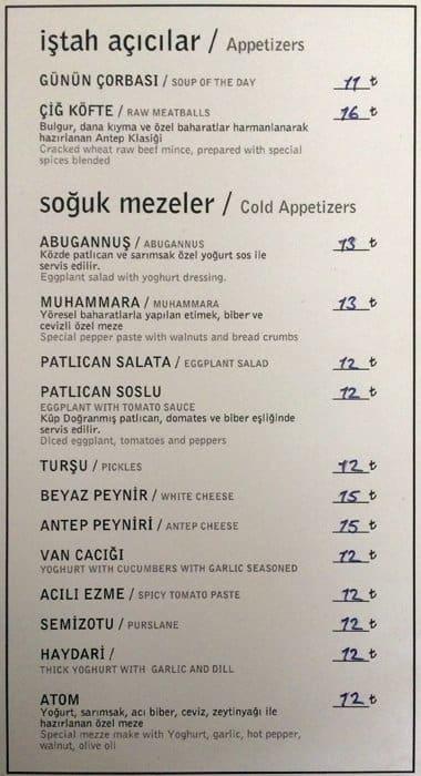 Develi Restaurant Istanbul Menu
