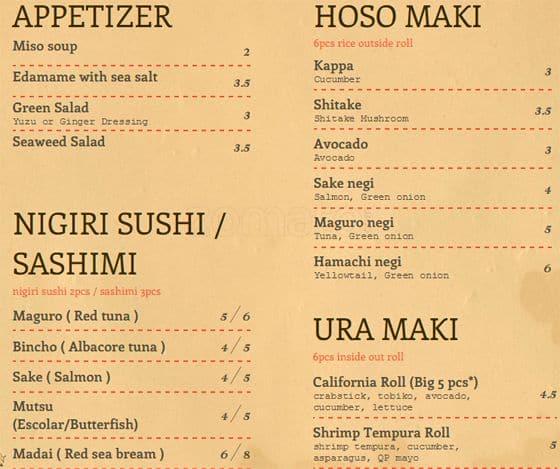 Sushi Nomi, Roncesvalles Village menu