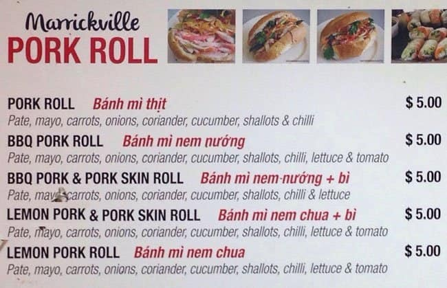 Marrickville Pork Roll Menu Menu For Marrickville Pork
