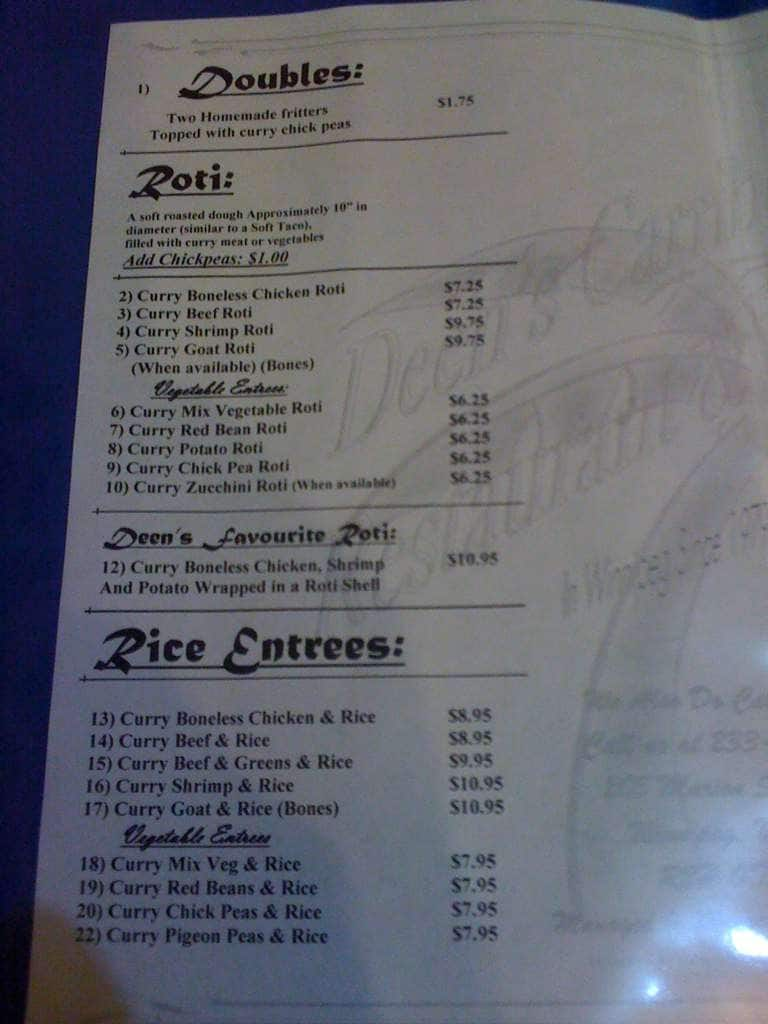 deen's caribbean restaurant  patio menu  urbanspoon/zomato