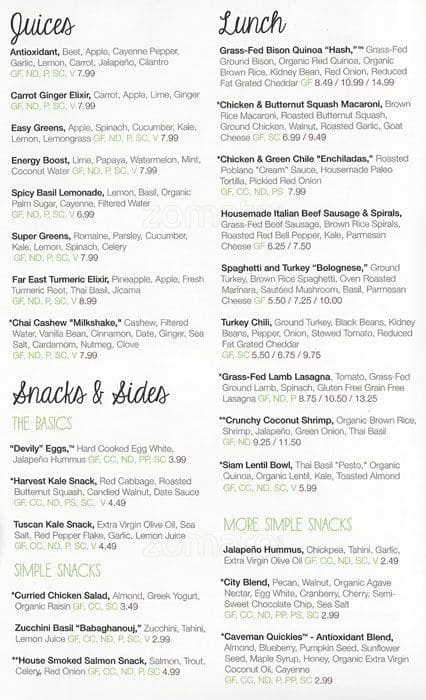 Scanned Menu For Snap Kitchen
