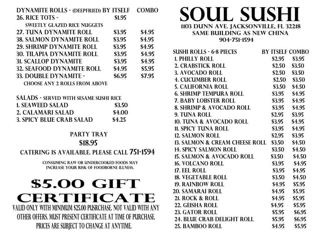 soul sushi menu menu for soul sushi northside jacksonville urbanspoon zomato. Black Bedroom Furniture Sets. Home Design Ideas