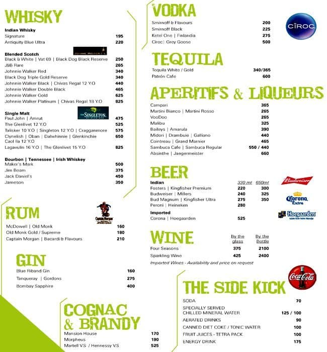 The 13th floor menu menu for the 13th floor mg road for Floor 6 reloaded menu