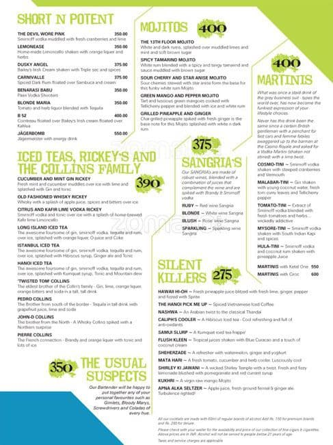 The 13th floor menu menu for the 13th floor mg road for 13th floor bangalore menu