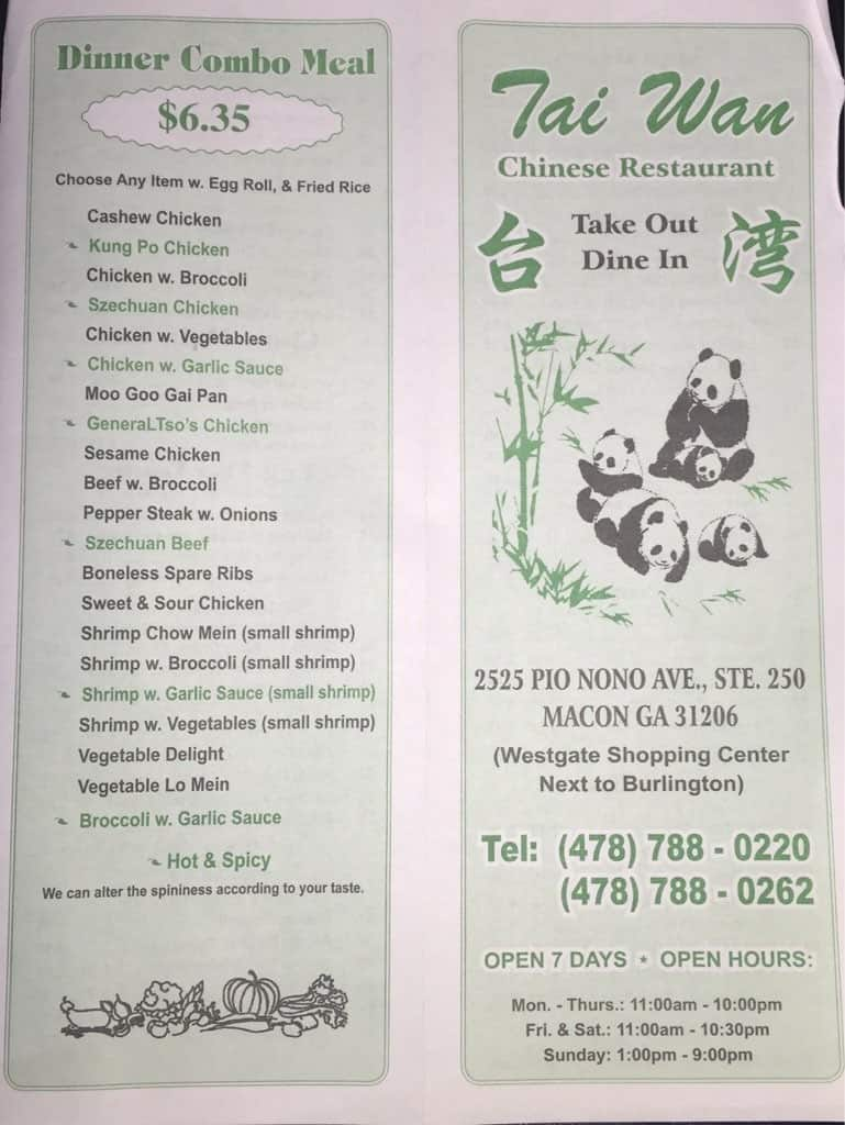 Taiwan Restaurant Menu Menu For Taiwan Restaurant Macon
