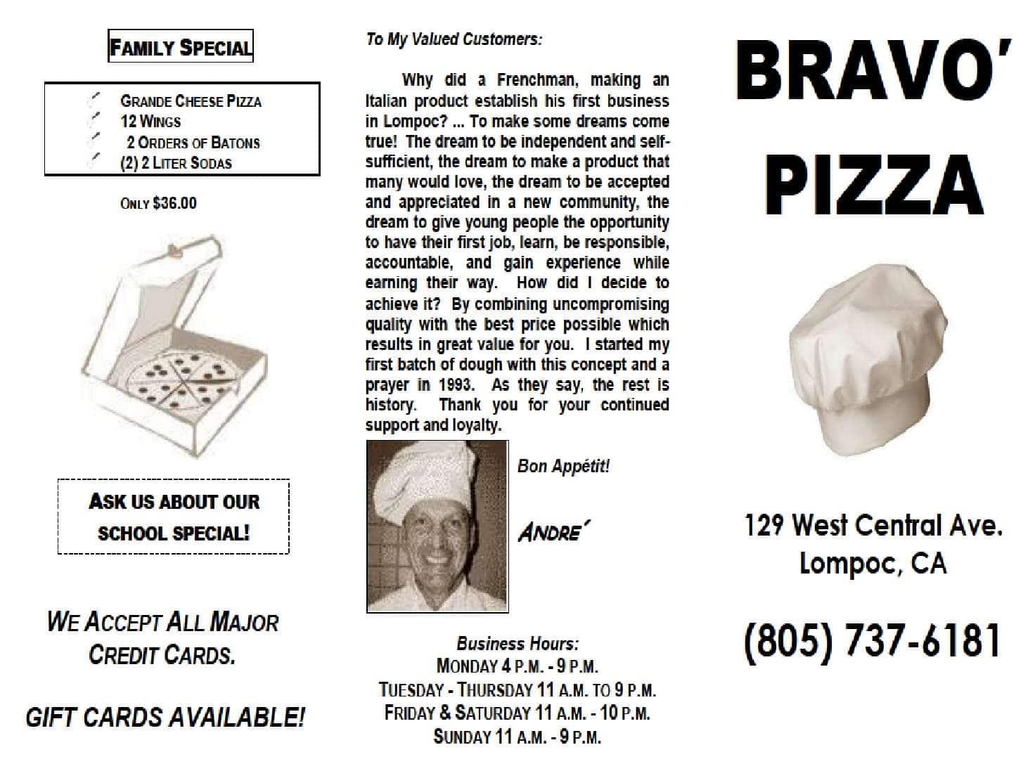 Menu At Bravo Pizza Restaurant Lompoc