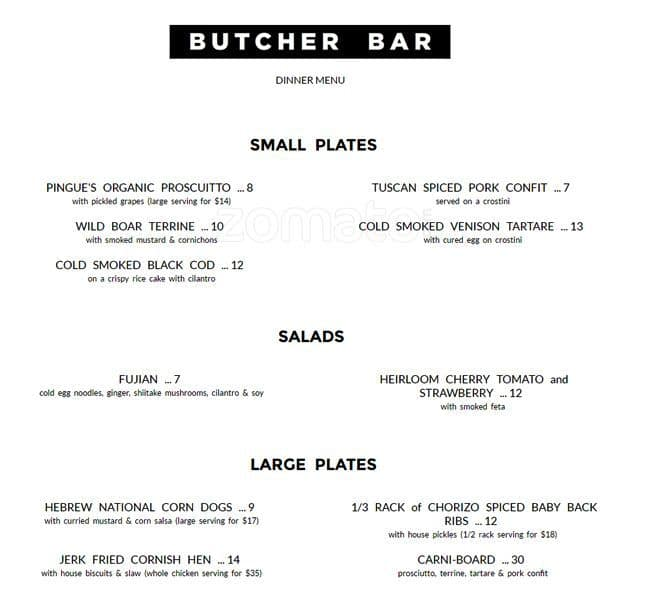 Barque Butcher Bar Menu, Menu for Barque Butcher Bar, Roncesvalles ...