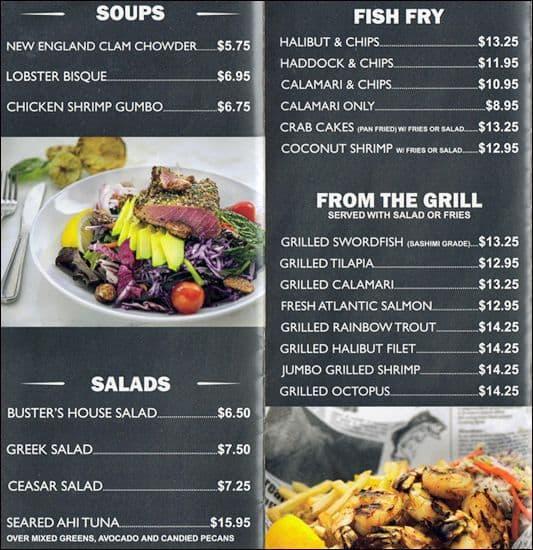 Buster 39 s sea cove menu menu for buster 39 s sea cove for Lawrence fish market menu