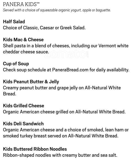 picture about Panera Bread Printable Menu titled Menu at Panera Bread restaurant, Mountain See