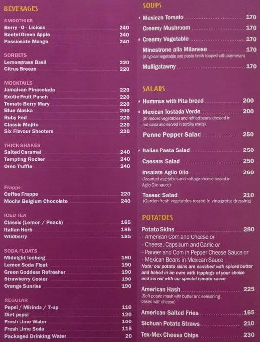 Relish Restaurant Muscat Menu
