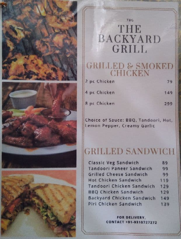 Great The Backyard Grill, Sector 28 Menu
