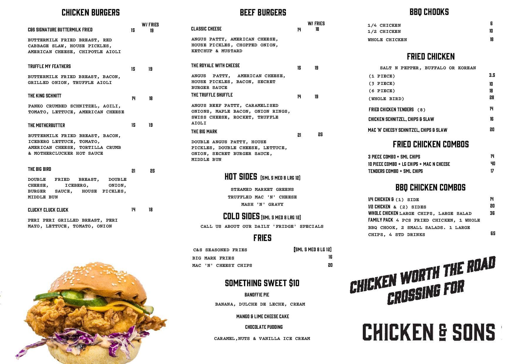 Chicken Sons Menu Menu For Chicken Sons Chatswood