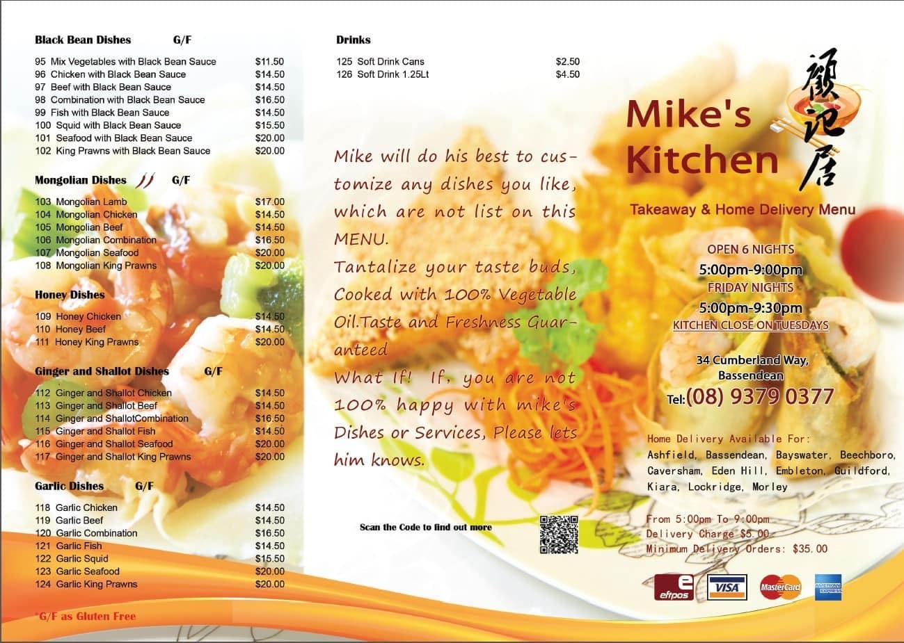 Menu at Mike\'s Kitchen, 34 Cumberland Way - Restaurant prices