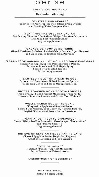 Per Se Restaurant New York City Menu