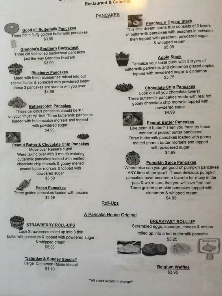Olde Towne Pancake House Jonesborough Menu