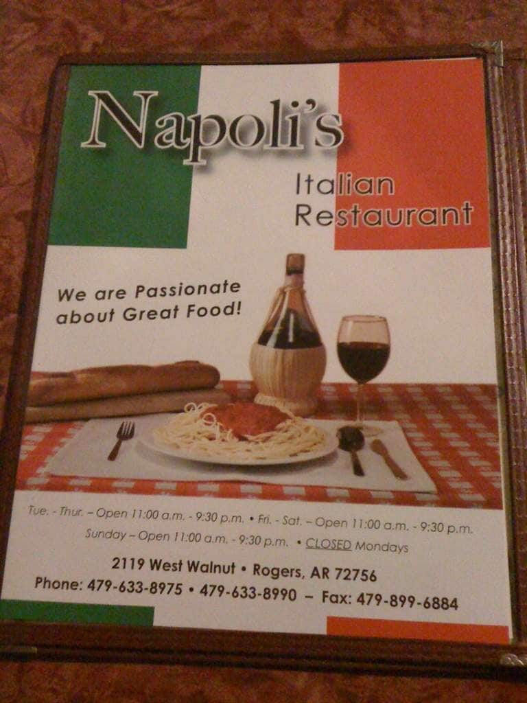 Menu at Napoli\'s restaurant, Rogers, W Walnut St Suite 5