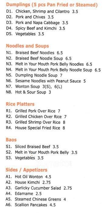 Dumplings & Things Menu, Menu For Dumplings & Things