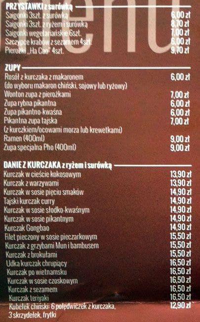 Asiana Menu Menu Restauracji Asiana Dębniki Kraków