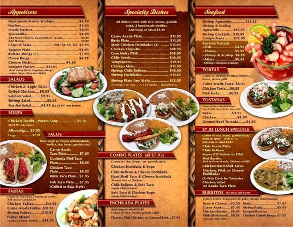 Conchita S Cafe Menu