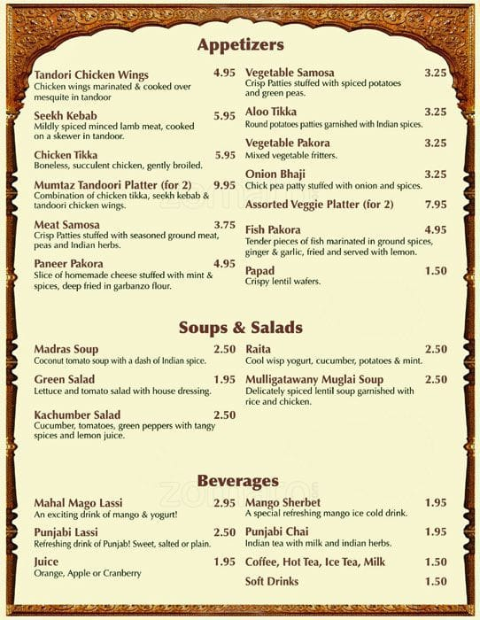 mumtaz indian restaurant menu menu for mumtaz indian restaurant rh zomato com indian restaurants plano indian restaurant plano texas
