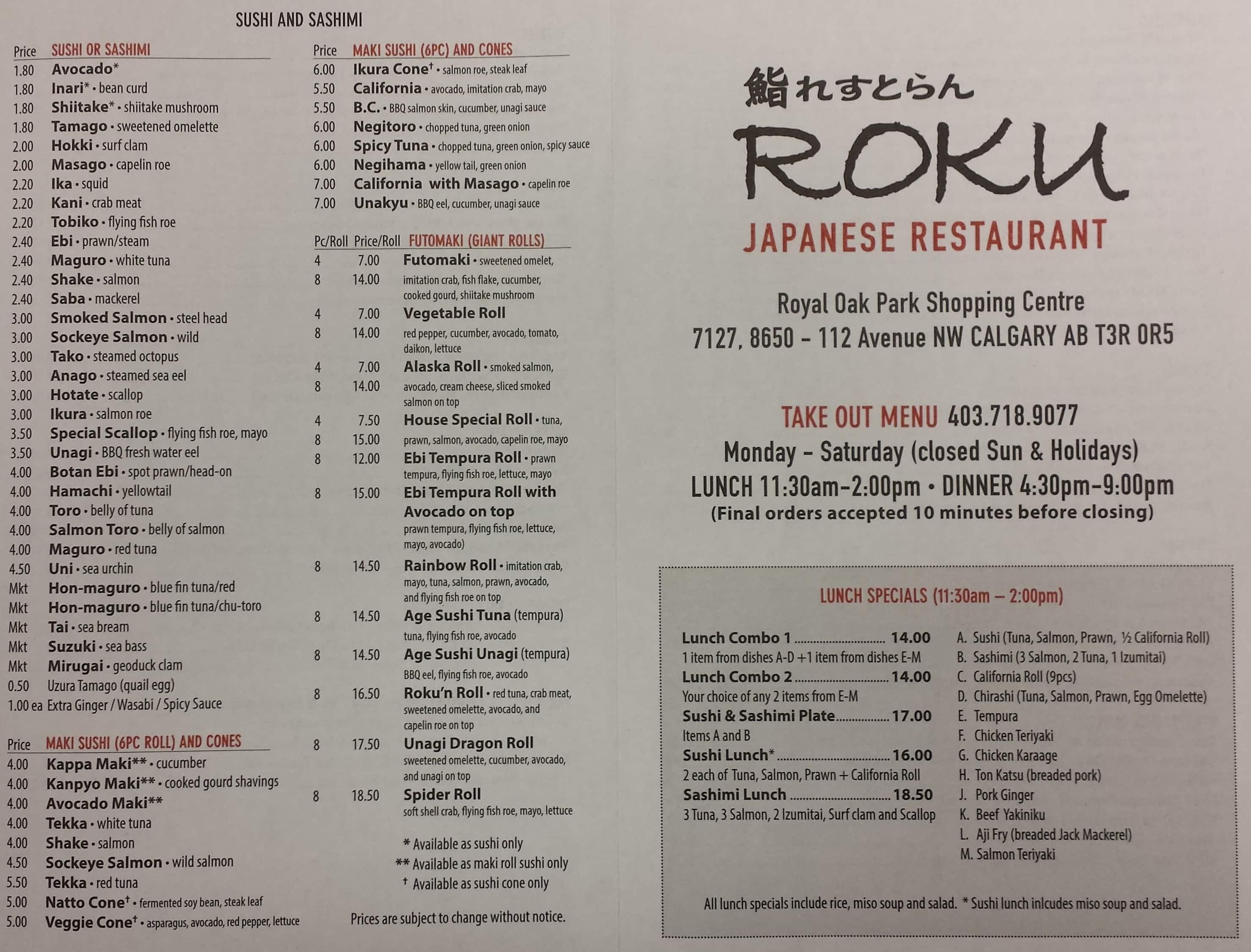 Yama Japanese Cafe Restaurant Menu